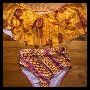 Boo hoo 2piece high waist bathing suit SZ L NEW